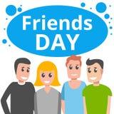 Glücklicher Freundtageskonzepthintergrund, Karikaturart lizenzfreie abbildung