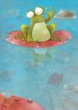 Glücklicher Frosch, der auf einem Lilienauflagewellenartig bewegen sitzt Stockfoto