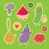 Glücklicher Gemüse-Vektor-Aufkleber-Satz Stockfoto