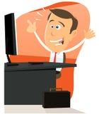 Glücklicher Geschäftsmann auf dem Web Stockbild