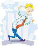 Glücklicher Geschäftsmann, der auf dem Straßenwellenartig bewegen geht Stockbild