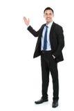 Glücklicher Geschäftsmann, der Darstellung gibt Stockbild