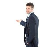 Glücklicher Geschäftsmann, der mit Kopienraum für yo sich darstellt und darstellt Stockbild