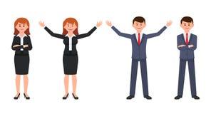 Glücklicher Geschäftsmann im dunkelblauen Anzug und in der Frau in der schwarzen Anzugszeichentrickfilm-figur Vektor des Mannes u lizenzfreie abbildung