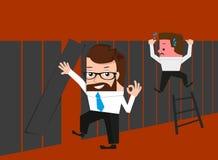 Glücklicher Geschäftsmann kennt einfachen Weg durch Zaun Lizenzfreies Stockbild
