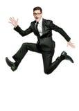 Glücklicher Geschäftsmann läuft in schwarze Klage auf Weiß. lizenzfreie stockbilder