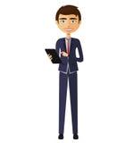 Glücklicher Geschäftsmann mit flacher Karikaturillustration der Tablette Lizenzfreies Stockfoto
