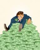 Glücklicher Geschäftsmann mit Geld Stockbilder
