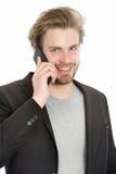 Glücklicher Geschäftsmann oder Kerl mit Handy Stockbild