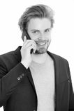 Glücklicher Geschäftsmann oder Kerl mit Handy Lizenzfreie Stockfotos