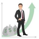 Glücklicher Geschäftsmann oder Manager steht nahe einem Stapel des Geldes Gewinnerfolgsausgleichszulage Vektor flach Stockfotos