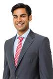 Glücklicher Geschäftsmann-Standing Over White-Hintergrund Stockbilder