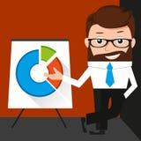 Glücklicher Geschäftsmann stellt ein rundes Diagramm dar Lizenzfreies Stockbild