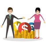 Glücklicher Geschäftsmann und seine Frau zeigen ihrem Münzenvektor flache Illustrationscharakterleute Stockfotos