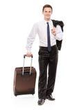 Glücklicher Geschäftsreisender, der sein Gepäck trägt Stockfotografie