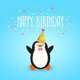 Glücklicher Glückwunschkartehintergrund mit nettem Pinguin. Stockbild