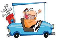 Glücklicher Golfspieler treibt Golfwagen an Stockfoto
