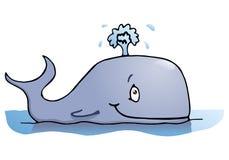 Glücklicher großer Wal auf lokalisiertem Weiß Lizenzfreies Stockfoto