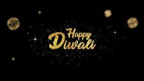 Glücklicher Gruß Diwali schöner goldener Text-Auftritt von den Blinkenpartikeln mit goldenem Feuerwerkshintergrund stock abbildung