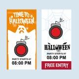 Glücklicher Halloween-Einladungsentwurf mit Bombenvektor lizenzfreie abbildung