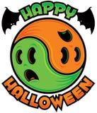 Glücklicher Halloween-Geist Yin-Yang lizenzfreie abbildung
