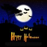 Glücklicher Halloween-Gestaltungs- der Werbebotschafthintergrund, Vektorillustration Vollmond, Gräber, Kürbise Stockfoto