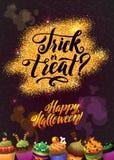 Glücklicher Halloween-Goldschein-Hintergrund mit kleinen Kuchen Kalligraphie-Plakat für Ihre Partei Stockfotografie