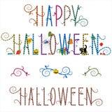Glücklicher Halloween-Grußtext Stockfotos