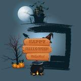 Glücklicher Halloween-Hintergrund mit Holzschild in der Mondscheinszene Stockfotos