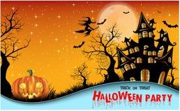Glücklicher Halloween-Hintergrund mit Kürbis, Vollmond Gestaltung der Werbebotschaft, Abbildung Auch im corel abgehobenen Betrag lizenzfreies stockfoto