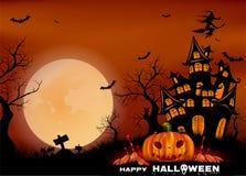 Glücklicher Halloween-Hintergrund mit Kürbis, Vollmond Gestaltung der Werbebotschaft, Abbildung Auch im corel abgehobenen Betrag lizenzfreies stockbild