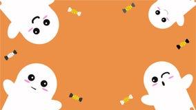 Glücklicher Halloween-Hintergrund mit netten Geistern und Candys-Vektor-Illustration Halloween-Verzierungen auf orange Hintergrun lizenzfreie abbildung