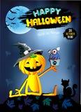 Glücklicher Halloween-Kürbis mit Kuchen lizenzfreie abbildung