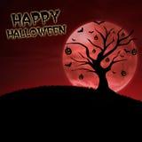 Glücklicher Halloween-Kürbisbaum auf rotem Mond Stockbild