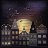 Glücklicher Halloween-Nachthintergrund Stockbild