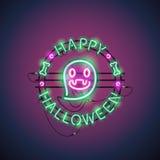 Glücklicher Halloween-Neon-Geist Lizenzfreies Stockfoto