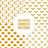 Glücklicher Halloween-Satz nahtlose Muster Lizenzfreie Stockfotografie
