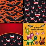 Glücklicher Halloween-Satz von zwei nahtlosen Mustern und Lizenzfreie Stockfotos