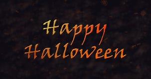 Glücklicher Halloween-Text, der in Staub sich auflöst, um einen Tiefstand zu erreichen lizenzfreie abbildung