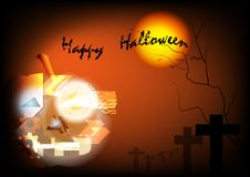 Glücklicher Halloween-Vektorschablonenhintergrund Stockbild