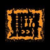 Glücklicher Halloween-Weinlesehintergrund Typografie-Fahne Stockfoto