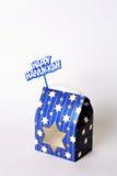 Glücklicher Hanukkah-Geschenk-Kasten und Zeichen Stockbild