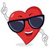 Glücklicher Herz-Charakter mit Sonnenbrille Stockbilder