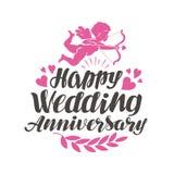 Glücklicher Hochzeits-Jahrestag Aufkleber mit schöner Beschriftung, Kalligraphie Auch im corel abgehobenen Betrag stock abbildung