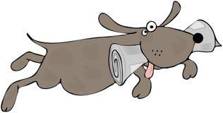 Glücklicher Hund mit einer Zeitung in seinem Mund Stockfotos