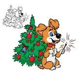 Glücklicher Hund mit Sparkler vektor abbildung