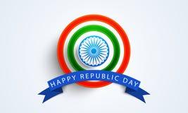 Glücklicher indischer Tag der Republik-Feierausweis oder -aufkleber Stockfoto