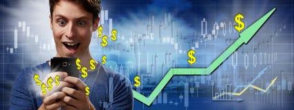Glücklicher Investormann lizenzfreie stockbilder