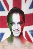 Glücklicher italienischer Anhänger für FIFA 2014 während Italiens GEGEN England stockbild