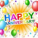 Glücklicher Jahrestag bedeutet die Gruß-Beglückwünschung und Partei lizenzfreie abbildung